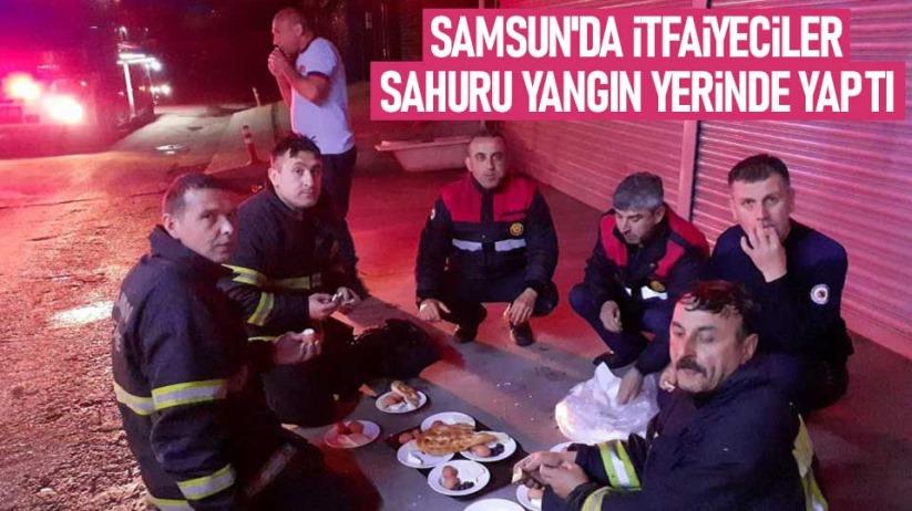 Samsunda itfaiyeciler sahuru yangın yerinde yaptı
