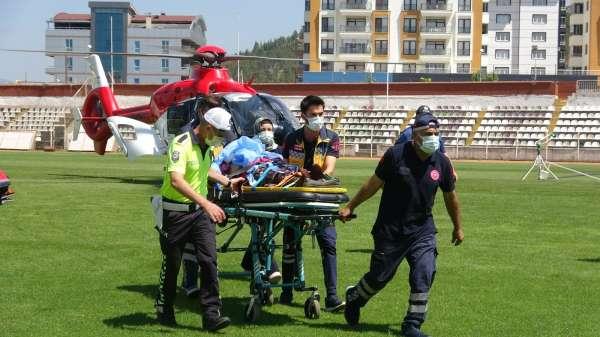 Tokatta ağır yaralanan kadın ambulans helikopterle hastaneye yetişildi