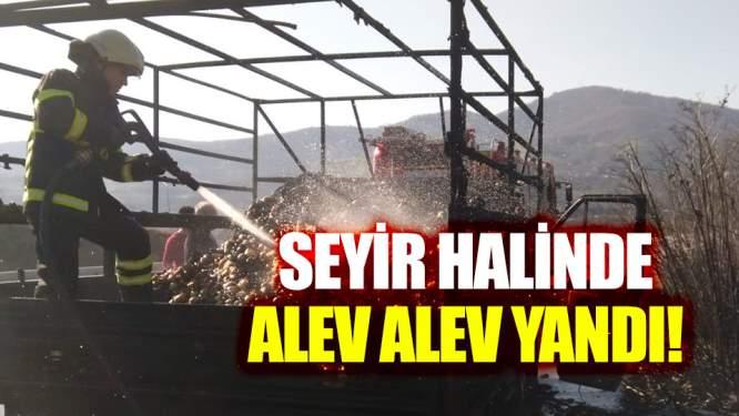 Samsun'da bir kamyonet seyir halinde alev alev yandı!