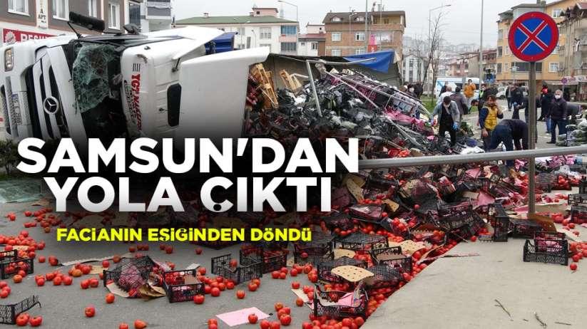 Samsun'da yola çıkan TIR kaza yaptı