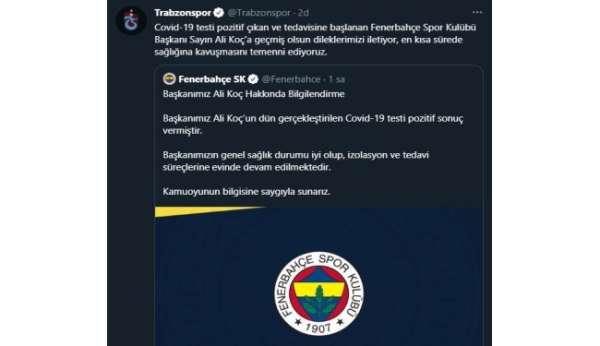 Trabzonspordan Başkan Koça geçmiş olsun mesajı