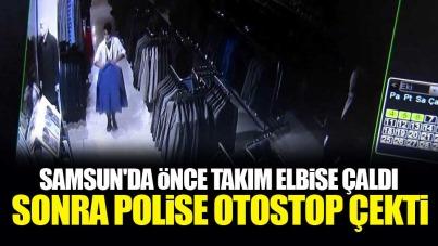 Samsun'da takım elbise çalıp polise otostop çekti