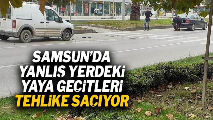 Samsun'da yanlış yerdeki yaya geçitleri tehlike saçıyor