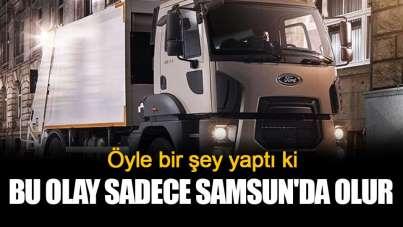 Samsun'da çöp kamyonunu çaldı