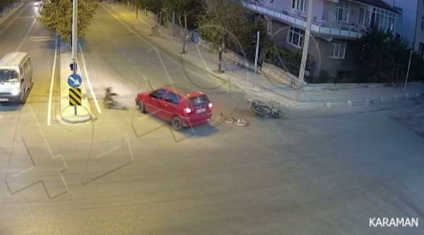 Karamanda iki ayrı trafik kazası MOBESE kamerasına yansıdı