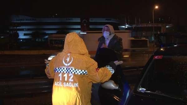 Pendikte kazaya karışan sürücüden sağlık çalışanlarına sabır testi