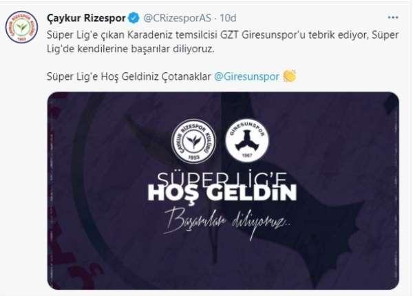 Rizespordan Giresunspor ve Adana Demirspor mesajı