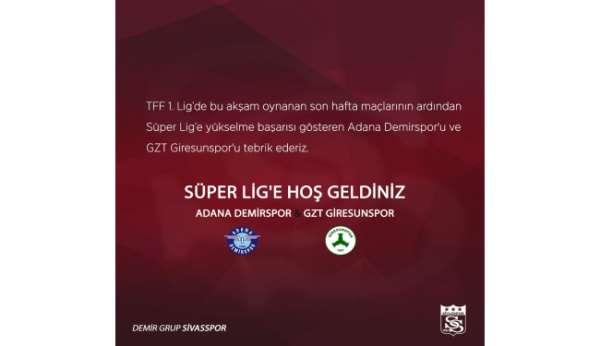 Sivasspordan Adana Demirspor ve GZT Giresunspora hoş geldin mesajı