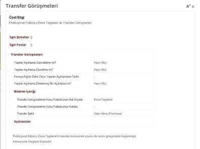Galatasaray Emre Taşdemir'i KAP'a bildirdi