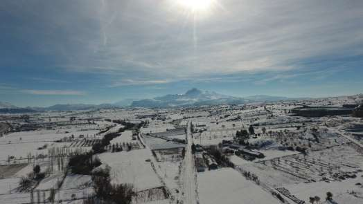 Burdur'da kar manzarası drone ile görüntülendi