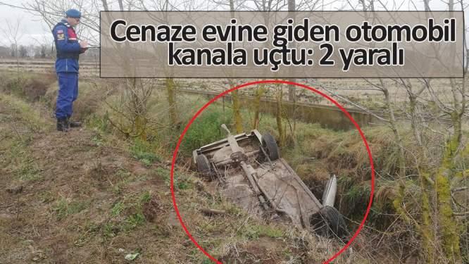 Cenaze evine giden otomobil kanala uçtu: 2 yaralı