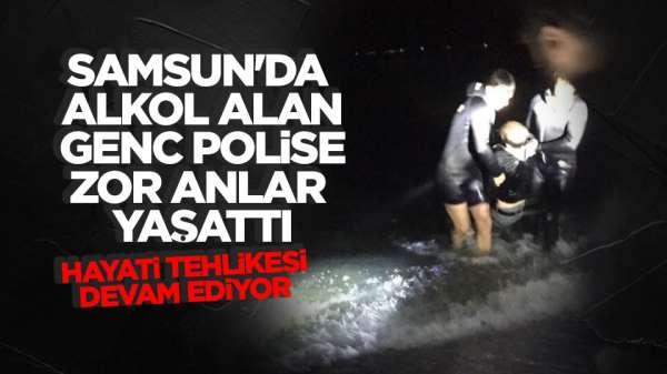 Samsun'da alkol alan genç denize atladı