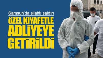 Samsun'da silahlı saldırgan özel kıyafetle adliyeye getirildi