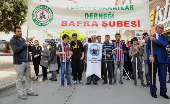 Bafra`da Engelliler İçin Yürüdüler