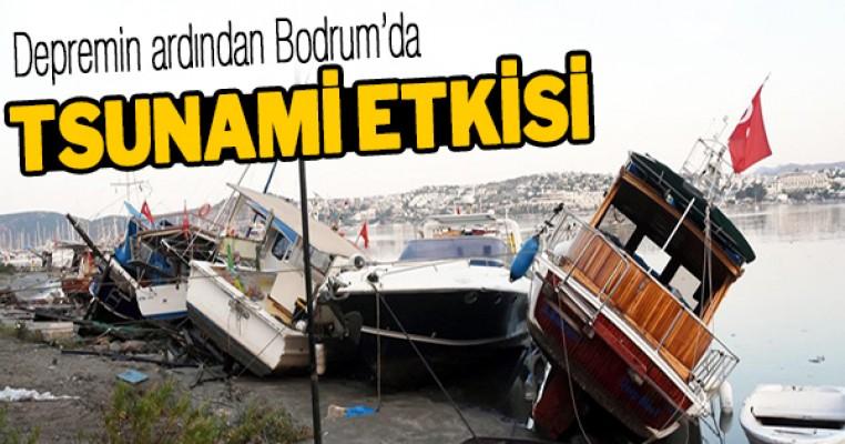 Bodrum`da deprem sonrası tsunami onlarca araç ve tekne sürüklendi