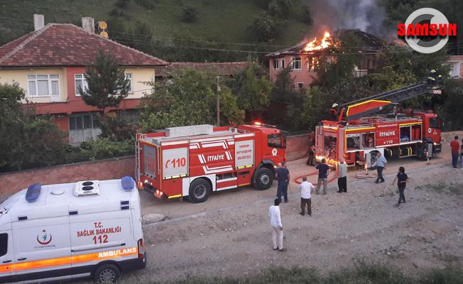 Havza`da ev yangını