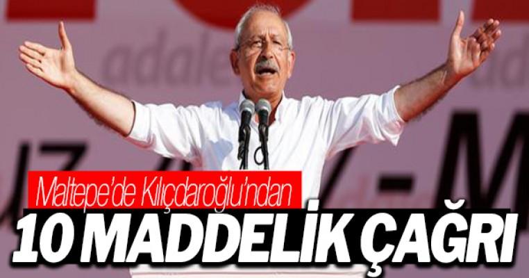 Kemal Kılıçdaroğlu `Adalet Mitingi`nde , 10 maddelik çağrı yaptı