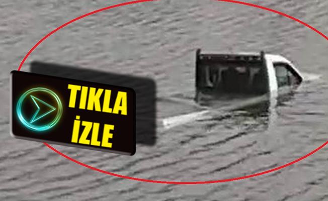 Samsun`da Baraja Düşen Kamyonetin Batma Anı Kameralarda!
