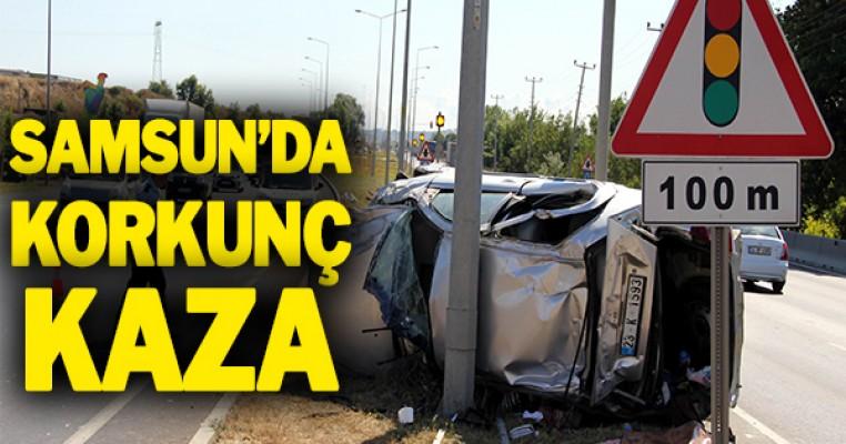 Samsun`da tırın çarptığı otomobil takla attı: 1 yaralı