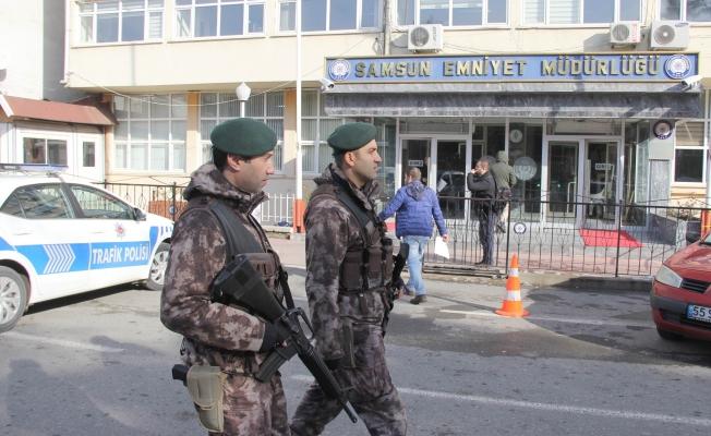 Samsun Emniyet Müdürlüğü önünde güvenlik önlemleri artırıldı