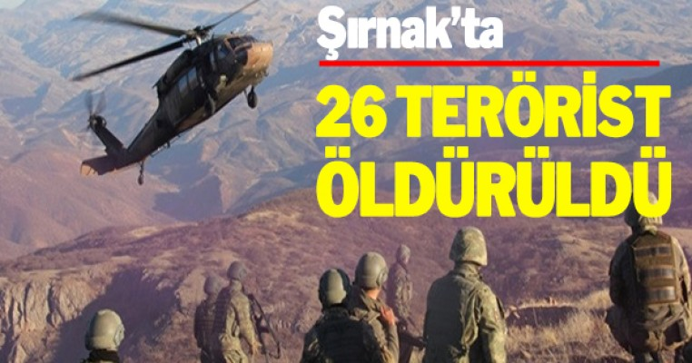 Şırnak`ta Çıkan Çatışmada 26 PKK`lı Terörist Öldürüldü