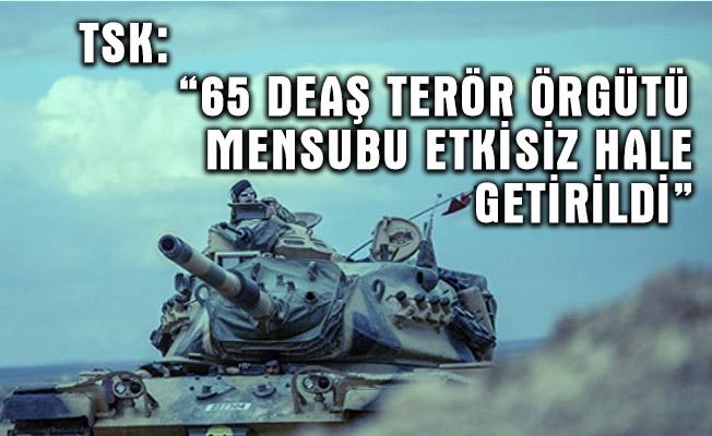 """TSK: """"65 DEAŞ terör örgütü mensubu etkisiz hale getirildi"""""""