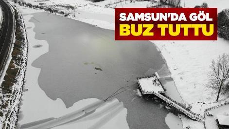 Samsun'da göl buz tuttu