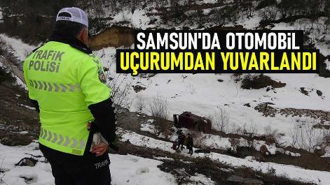 Samsun'da otomobil uçurumdan yuvarlandı