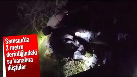 Samsun'da 2 metre derinliğindeki su kanalına düştüler