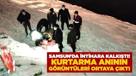 Samsun'da intihara kalkıştı! Kurtarma anının görüntüleri ortaya çıktı