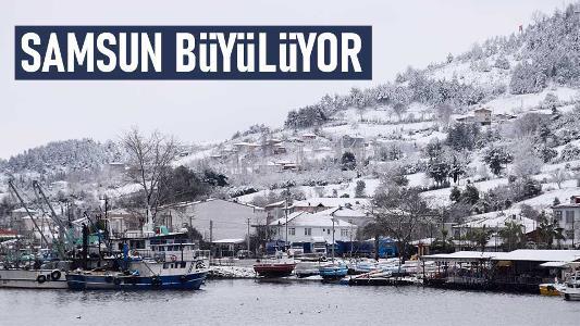 Samsun'da büyüleyen kar manzaraları