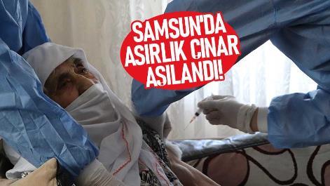 Samsun'da 108 yaşındaki nine aşı oldu